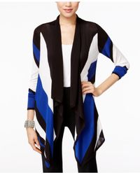 INC International Concepts | Blue Colorblocked Waterfall Cardigan, Only At Macy's | Lyst