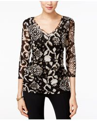INC International Concepts | Black Printed Ruched Blouse, Only At Macy's | Lyst