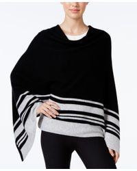 Charter Club Black Cashmere Striped Poncho, Only At Macy's