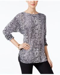 Charter Club   Black Cashmere Snakeskin-print Sweater, Only At Macy's   Lyst
