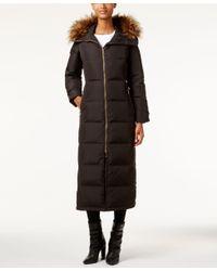 Calvin Klein   Black Petite Faux-fur-trim Hooded Maxi Down Puffer Coat   Lyst