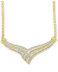 Macy's | Metallic Diamond V Fancy Collar Necklace (1/2 Ct. T.w.) In 14k Gold-plated Sterling Silver | Lyst