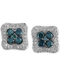 Effy Collection | Metallic Bella Bleu By Effy Diamond Square Stud Earrings (1-1/6 Ct. T.w.) In 14k White Gold | Lyst