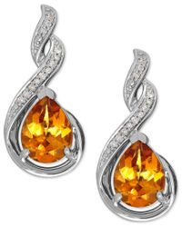Macy's | Metallic Citrine (1-9/10 Ct. T.w.) And Diamond Accent Drop Earrings In Sterling Silver | Lyst
