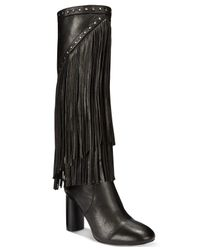 INC International Concepts | Black Women's Tolla Tall Fringe Boots, Only At Macy's | Lyst