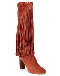 INC International Concepts | Red Women's Tolla Tall Fringe Boots, Only At Macy's | Lyst