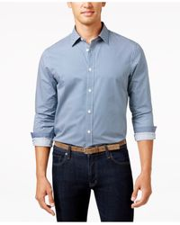 Michael Kors | Blue Men's Lucas Birdseye Long-sleeve Shirt for Men | Lyst