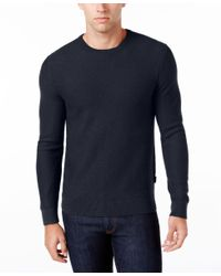 Michael Kors | Blue Men's Waffle-knit Crew-neck Sweater for Men | Lyst