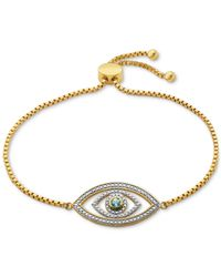Macy's - Metallic Blue Topaz (1/10 Ct. T.w.) And Diamond Accent Evil Eye Slider Bracelet In 18k Gold Over Silver-plated Bronze - Lyst