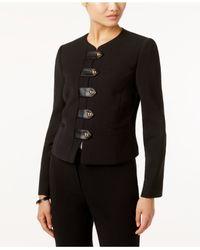 Tahari | Black Faux-leather-trim Snap-front Blazer | Lyst