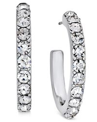 Charter Club - Metallic Silver-tone Crystal Hoop Earrings, Only At Macy's - Lyst