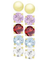 Macy's | 5-pc. Set Multi-gemstone And Metallic Stud Earrings In 18k Gold-plated Sterling Silver | Lyst