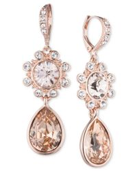 Givenchy | Pink Rose Gold-tone Crystal Flower Teardrop Drop Earrings | Lyst