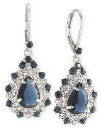 Carolee | Metallic Silver-tone Blue And Clear Crystal Teardrop Cluster Drop Earrings | Lyst