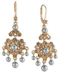 Carolee | Metallic Gold-tone Gray Imitation Pearl Chandelier Earrings | Lyst