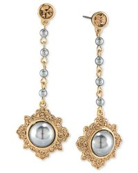 Carolee | Gray Gold-tone Imitation Pearl And Pavé Drop Earrings | Lyst