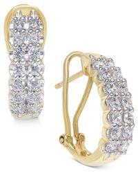 Macy's   Metallic Diamond Two-row Hoop Earrings (1 Ct. T.w.) In 10k Gold   Lyst