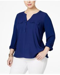 INC International Concepts | Blue Plus Size Mixed-media Utility Blouse, Only At Macy's | Lyst