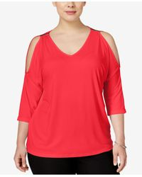 INC International Concepts | Red Plus Size Cold-shoulder Top, Only At Macy's | Lyst