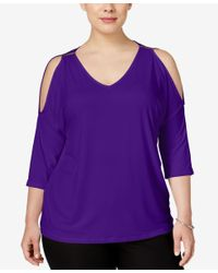 INC International Concepts | Purple Plus Size Cold-shoulder Top, Only At Macy's | Lyst