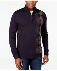 Tricots St Raphael   Blue Men's Argyle Quarter-zip Mock-collar Sweater for Men   Lyst