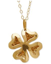 Macy's | Metallic Textured Four-leaf Clover Pendant Necklace In 10k Gold | Lyst