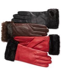 Charter Club   Multicolor Faux Fur-cuff Leather Tech Gloves, Only At Macy's   Lyst