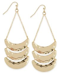 INC International Concepts | Metallic Gold-tone Hammered Metal Chandelier Earrings, Only At Macy's | Lyst
