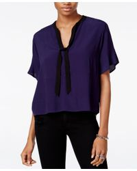 Guess | Blue Lorna Printed Tie-detail Top | Lyst