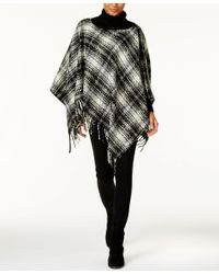 Lauren by Ralph Lauren - Black Tartan Triangle Poncho - Lyst