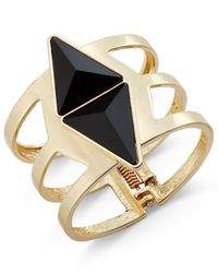 INC International Concepts | Metallic Gold-tone Black Stone Geometric Cuff Bracelet, Only At Macy's | Lyst