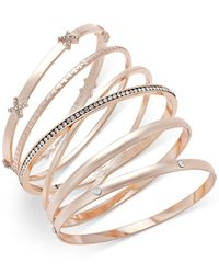 INC International Concepts | Metallic Rose Gold-tone 5-pc. Crystal-detail Bangle Bracelet Set | Lyst