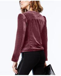 INC International Concepts - Red Petite Velvet Moto Jacket - Lyst