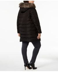 DKNY - Black Plus Size Faux-fur-trim Puffer Coat - Lyst
