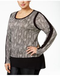 Michael Kors | Black Michael Plus Size Snake-printed Top | Lyst