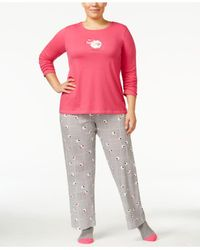 Hue | Pink Plus Size Knit Pajama Set With Socks | Lyst