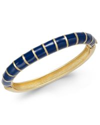 Charter Club | Blue Erwin Pearl Atelier For Gold-tone Striped Hinged Bangle Bracelet, Only At Macy's | Lyst