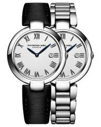 Raymond Weil   Metallic Women's Swiss Shine Black Satin Strap Watch & Interchangeable Stainless Steel Bracelet 32mm 1600-st-00659   Lyst