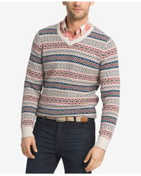 Izod | Multicolor Men's Big & Tall Long-sleeve V-neck Sweater for Men | Lyst