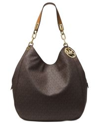 Michael Kors | Brown Michael Signature Fulton Large Shoulder Tote | Lyst
