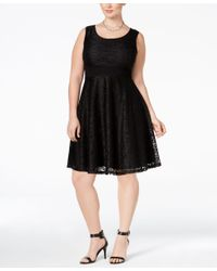 American Rag | Black Trendy Plus Size Lace Fit & Flare Dress, Only At Macy's | Lyst