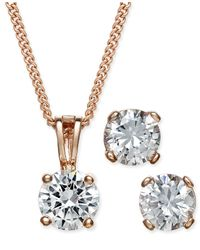 Charter Club   Metallic Rose Gold-tone Cubic Zirconia Pendant Necklace And Earrings Set   Lyst