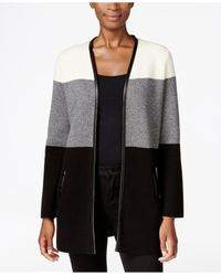 Charter Club Black Petite Faux-leather-trim Colorblocked Cardigan