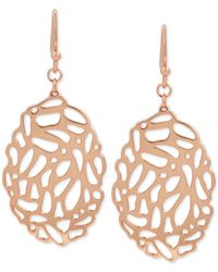 Hint Of Gold | Metallic Filigree Oval Drop Earrings In 14k Rose Gold-plate | Lyst