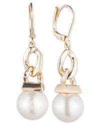 Anne Klein - Metallic Gold-tone Imitation Pearl Chain Link Drop Earrings - Lyst