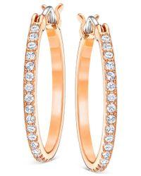 Swarovski | Multicolor Rose Gold-tone Crystal-studded Hoop Earrings | Lyst
