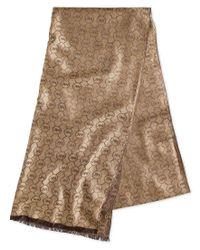 Michael Kors | Natural Michael Jet Set Logo Jacquard Wrap, Only At Macy's | Lyst