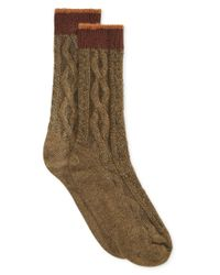 Hue - Green Women's Tipped Cable Boot Socks for Men - Lyst