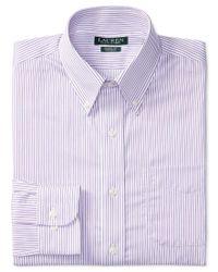 Lauren by Ralph Lauren | Men's Classic-fit Non-iron White Purple Stripe Dress Shirt for Men | Lyst