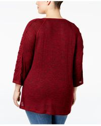 Style & Co. | Red Plus Size Lace-sleeve High-low Sweater | Lyst